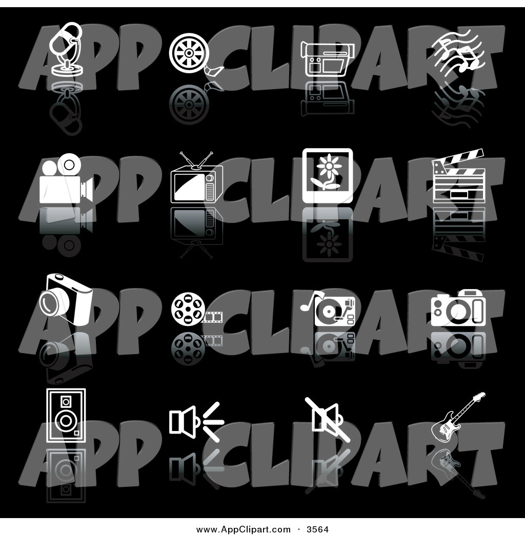 Vector Clip Art of a Set of Black and White Media Icons of a.