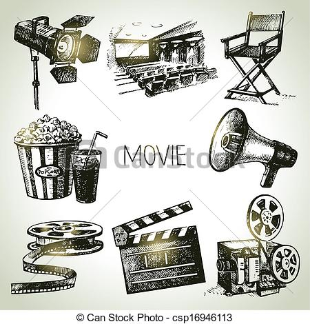 Vector Clip Art of Movie and film set. Hand drawn vintage.