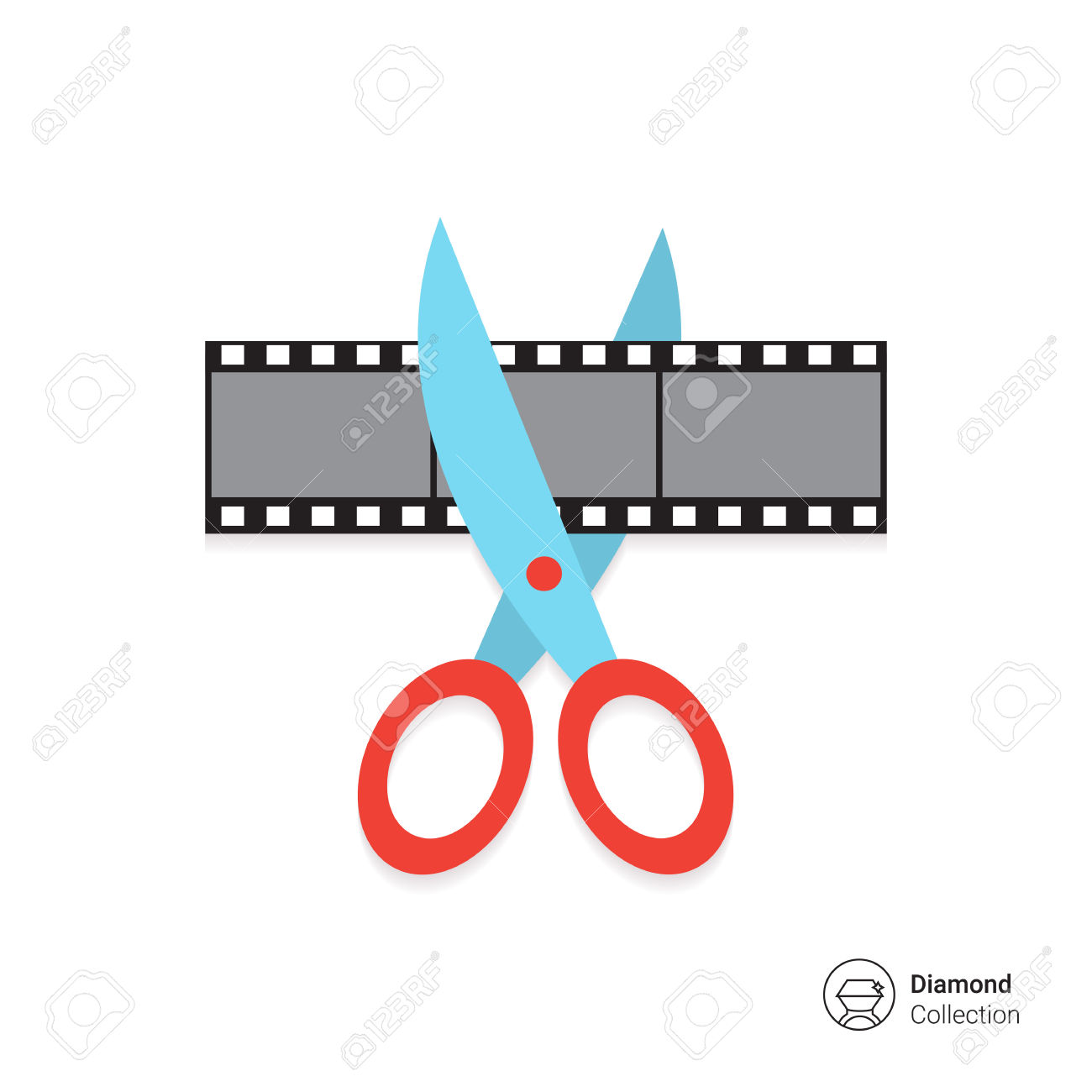 Vector Icon Of Scissors Cutting Film Shot Royalty Free Cliparts.