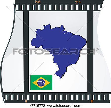 Clipart of Film shots with a national map of Brazil k7795772.