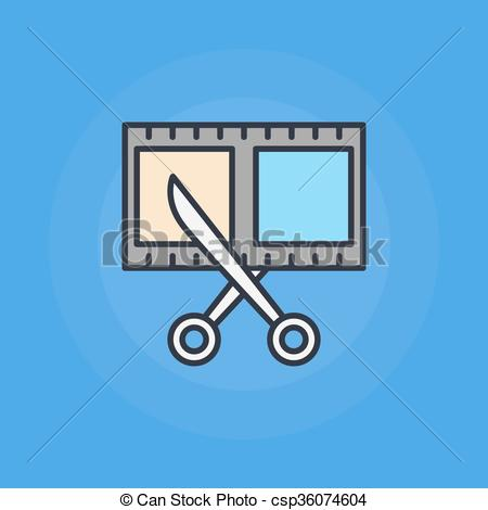 Vector Clipart of Scissors and film shot icon.
