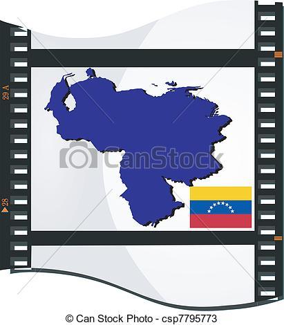 Vectors of Film shots with a national map of Venezuela csp7795773.