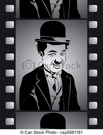 Vector Clip Art of shot in black and white film with Charlie.
