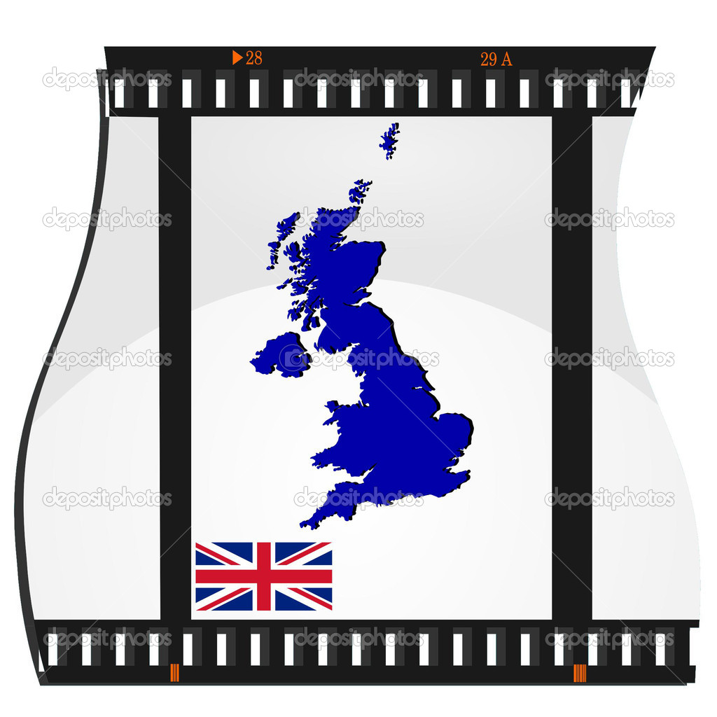 Film shots with a national map of United Kingdom — Stock Vector.
