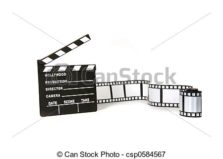 Stock Illustrations of Clapboard and film strip on white.