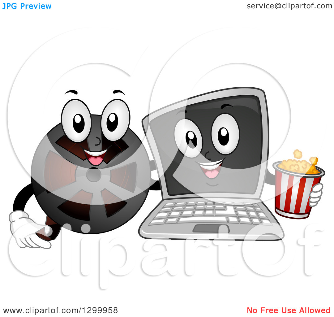 Clipart of a Cartoon Laptop Computer and Film Reel with Popcorn.