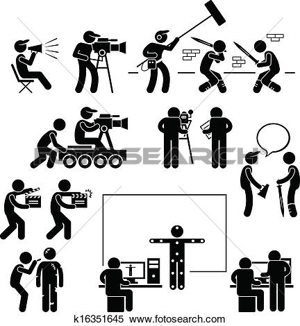 Clipart of Shooting Film with Movie Camera k15179953.