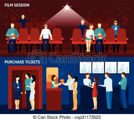 Vector Illustration of Cinema movie 2 flat banners set.