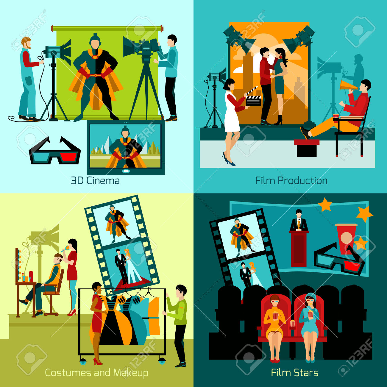 Cinema People Design Concept Set With Film Production Flat Icons.