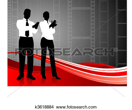 Clipart of business team clapping on film reel background k3618884.