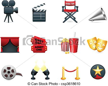 Vector Clipart of Film and movies industry icon collection.