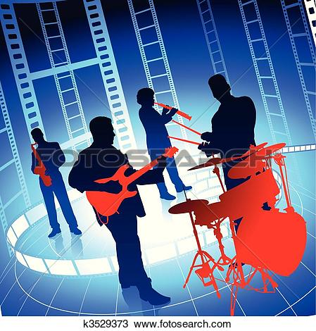Clipart of Live Music Band on Film Reel Background k3529373.