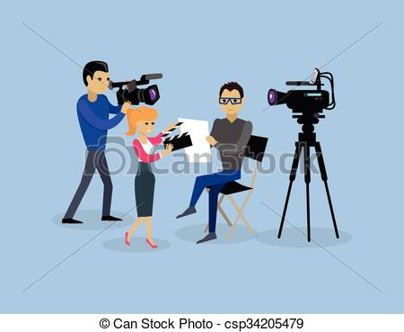 Vectors Illustration of Camera Crew Team People Group Flat Style.