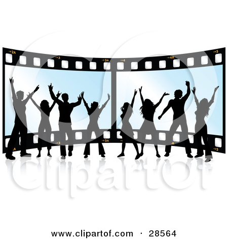 Clipart Illustration of Two Rows of Negative Film Strips by KJ.