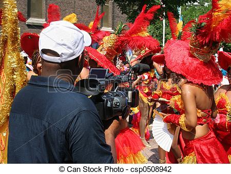 Stock Photo of Carnaval TV Crew.
