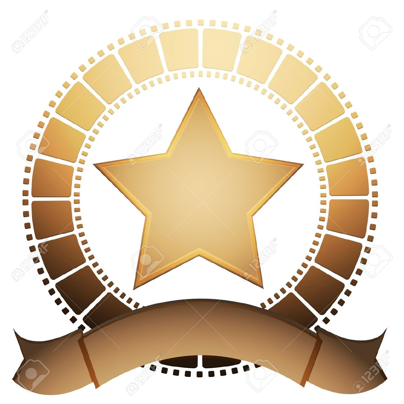 Film Star And Banner On A White Background Royalty Free Cliparts.