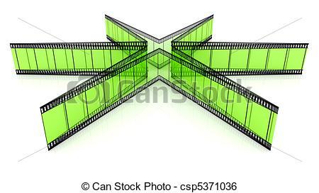 Stock Illustration of 3d blank transparent film star.