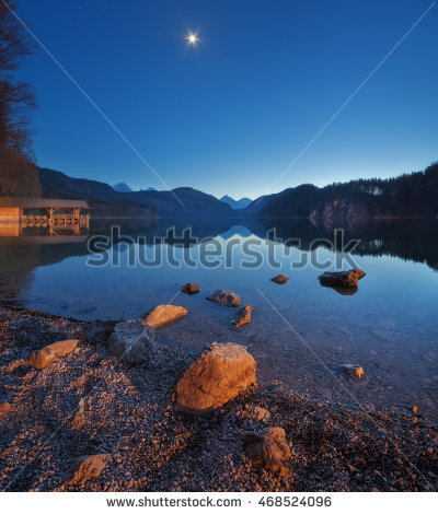 Night In Alpsee Lake In Germany. Beautiful Landscape With Lake.