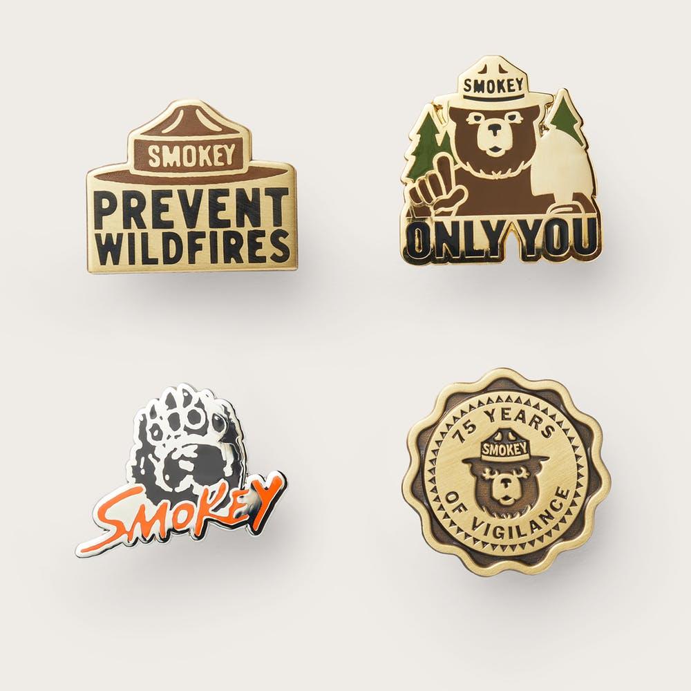 Smokey Bear Enamel Pin Set.