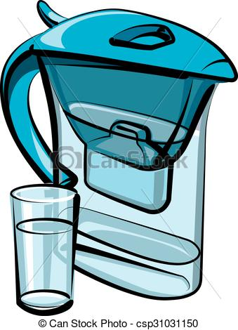 Person filtering water clipart.