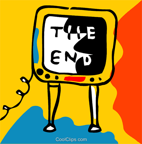 Television with the end Royalty Free Vector Clip Art.