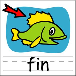 Clip Art: Basic Words: Fin Color Labeled I abcteach.com.