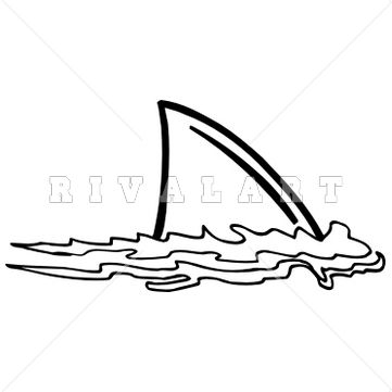 Mascot Clipart Image of A Shark Fin In The Water.