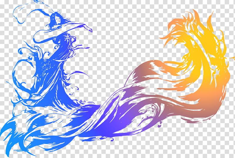 Final Fantasy X logo, blue and orange transparent background.