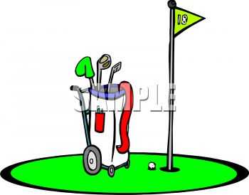 Royalty Free Clip Art Image: Golf Bag at the 18th Hole.