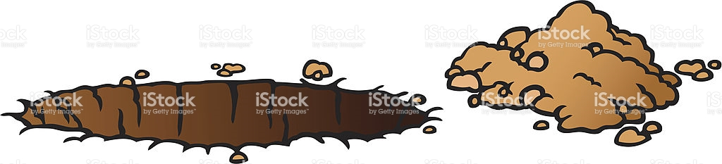 A Cartoon Image Of A Hole In The Ground With A Pile Of Dirt stock.