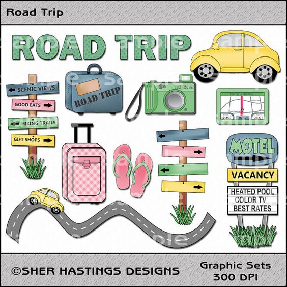 Road Trip Clipart and Graphic Set, Travel Clipart, Vacation.