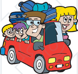 Road Trip Cartoon Clipart.