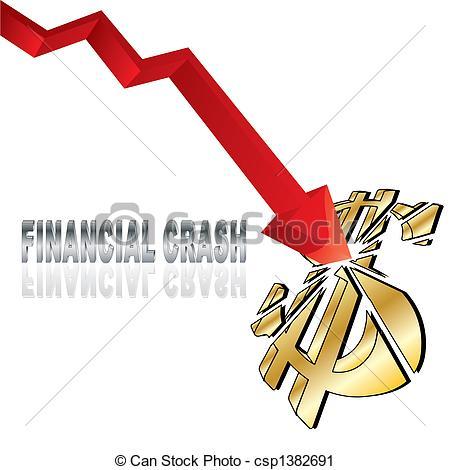 Vector Clip Art of Financial crash with red diagram arrow smashing.