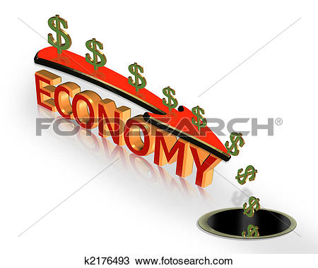 Clip Art of Red dollar sign with arrow down breaking floor.