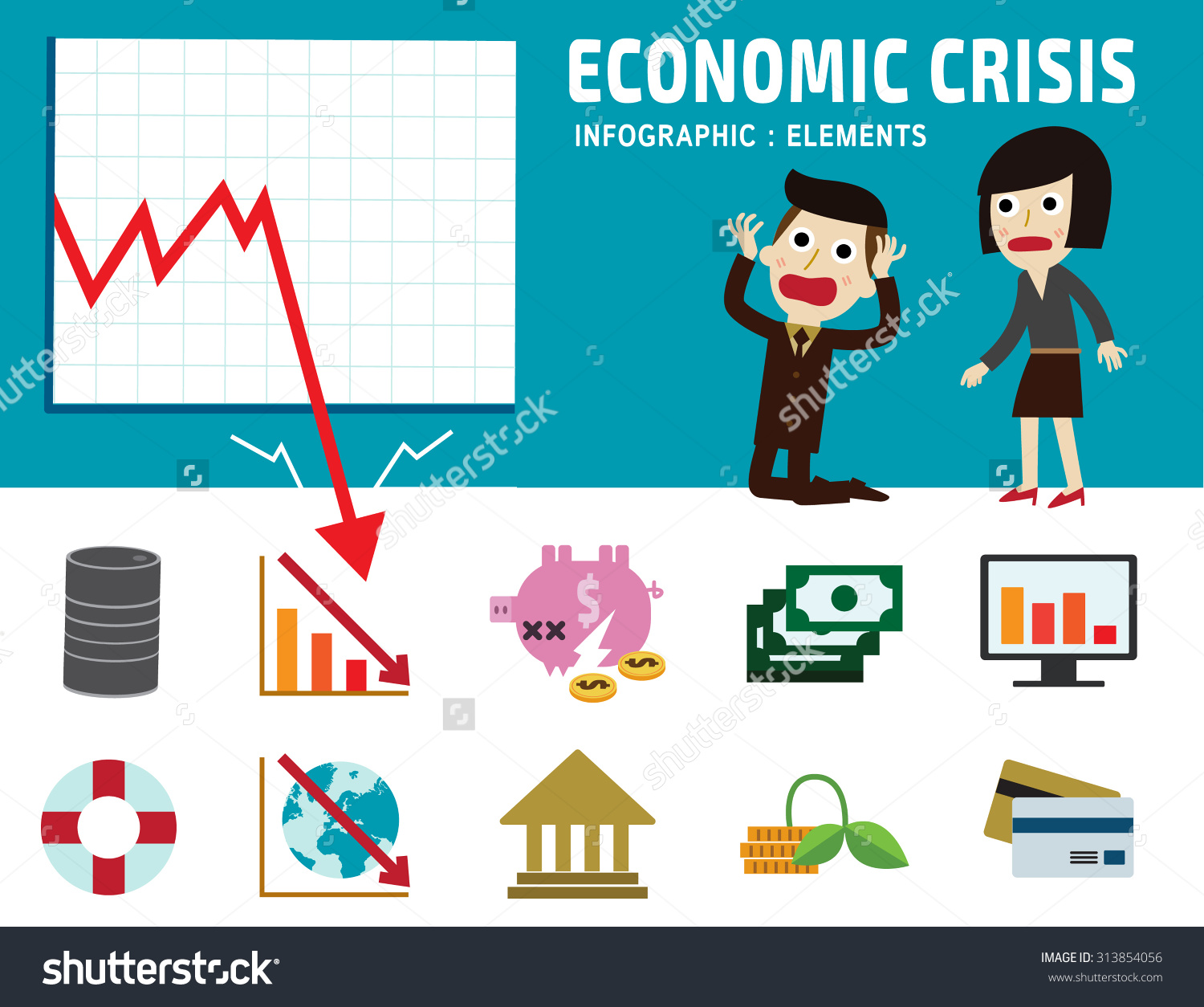 Economic Crisis Frustrated Business Man Cartoon Stock Vector.