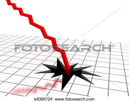Stock Photo of Red arrow breaking floor. Concept of bankruptcy.