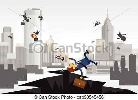 Clipart Vector of Business People Fall Down Hole Street Financial.
