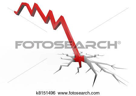 Stock Illustration of Red arrow breaking floor. Concept of.