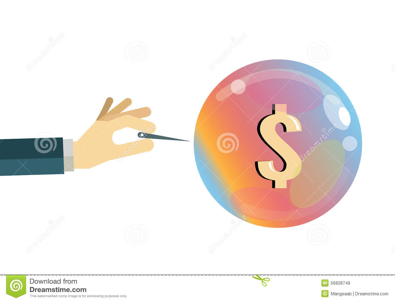 Economic Bubble. Financial Crisis Concept. Stock Vector.