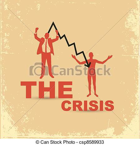 Vectors of Financial crisis concept. Joyful and naked businessman.