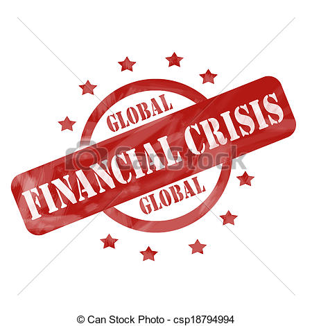 Stock Photographs of Red Weathered Global Financial Crisis Stamp.