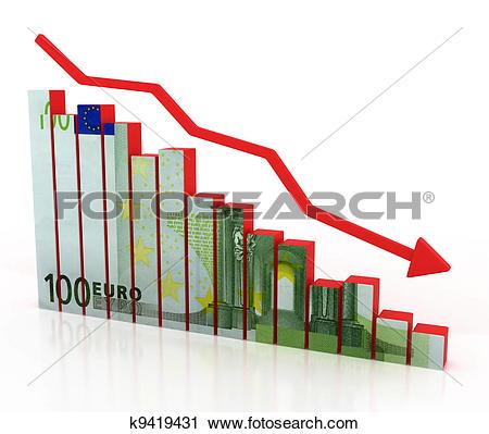 Clipart of euro crash, financial crisis k9419431.