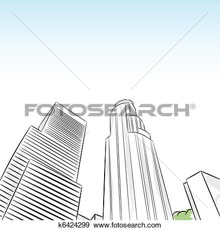 Clip Art of Downtown Los Angeles Financial District k6424299.