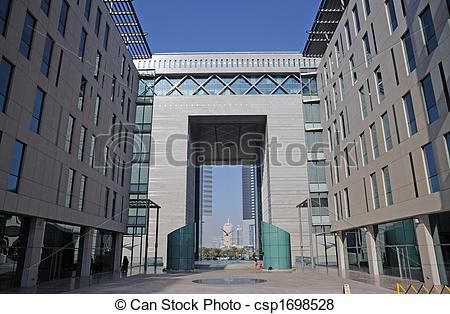 Pictures of Dubai Financial District. Gate Building housing the.