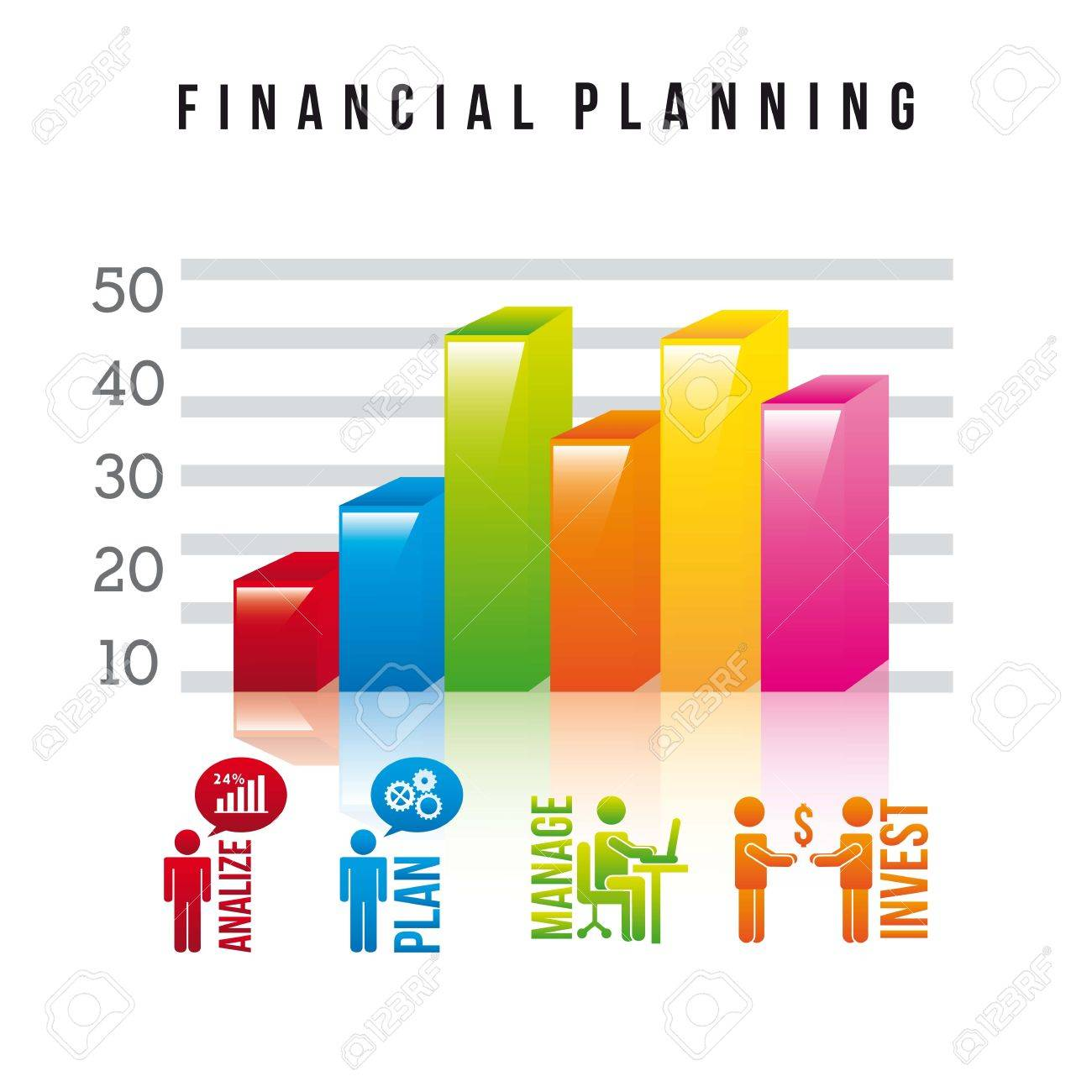 financial planning illustration over white background. vector.
