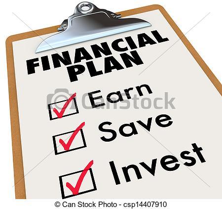Financial Plan Clipboard Money Saving Strategy Steps.