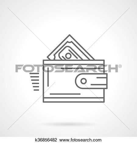Clipart of Purchase wallet flat line vector icon k36856482.