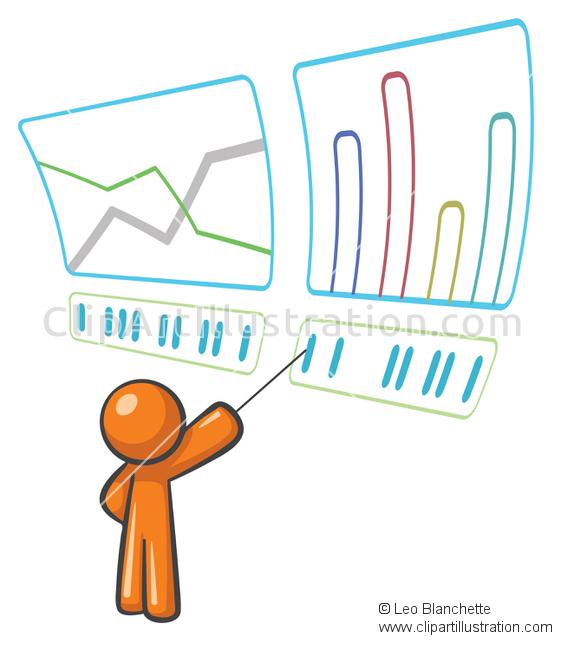 ClipArt Illustration Orange Man Stock Market Technical Analysis.
