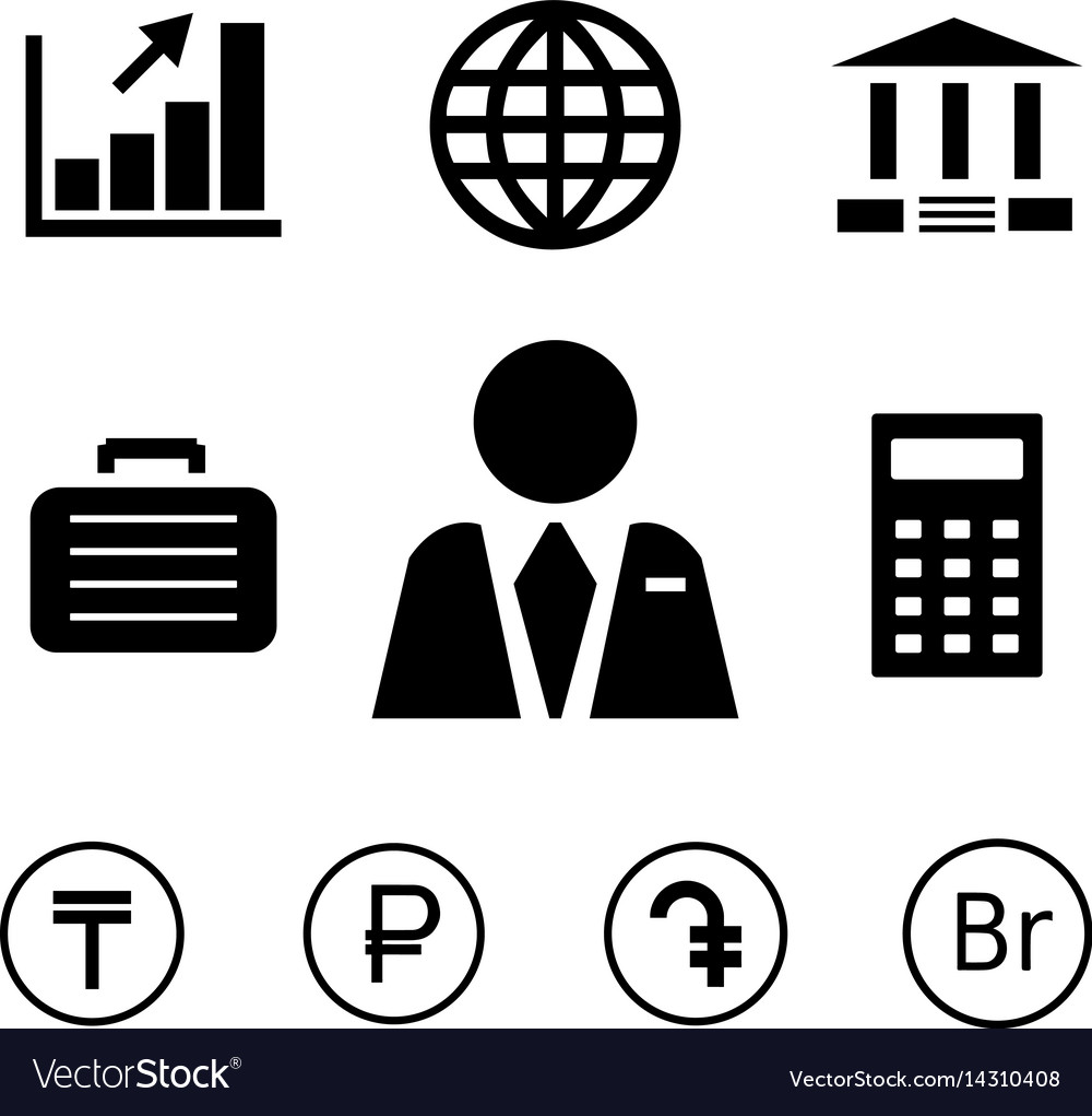 Finance and bank icons with currency symbols vector image.