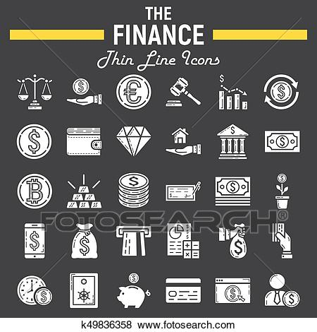 Finance glyph icon set, business signs collection Clip Art.